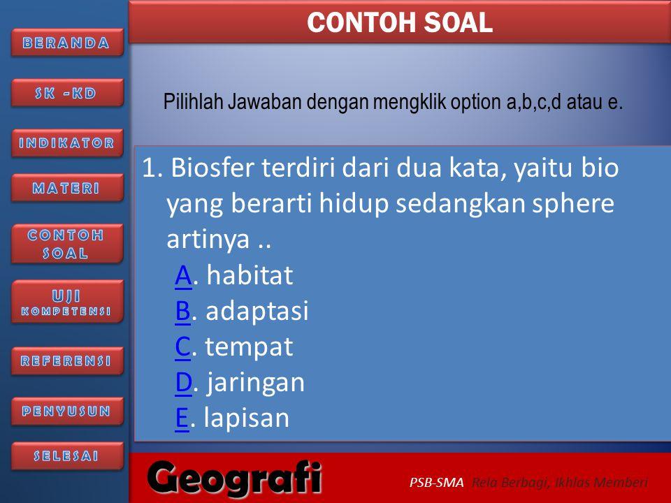CONTOH SOAL Pilihlah Jawaban dengan mengklik option a,b,c,d atau e.