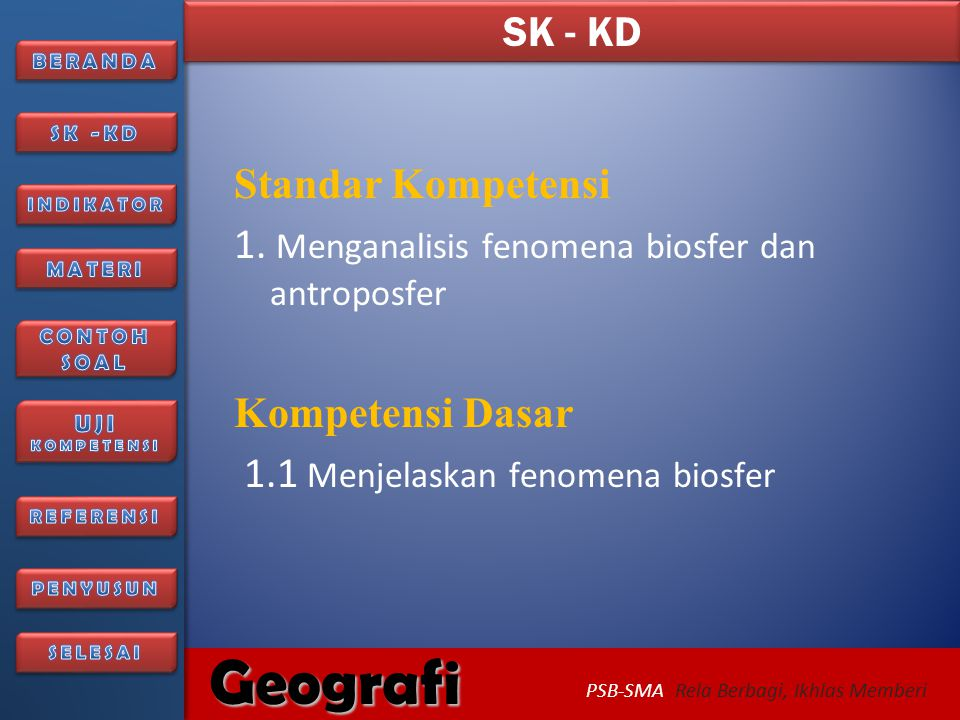 SK - KD Standar Kompetensi. 1. Menganalisis fenomena biosfer dan antroposfer.