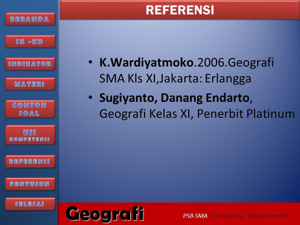 REFERENSI K.Wardiyatmoko.2006.Geografi SMA Kls XI,Jakarta: Erlangga.