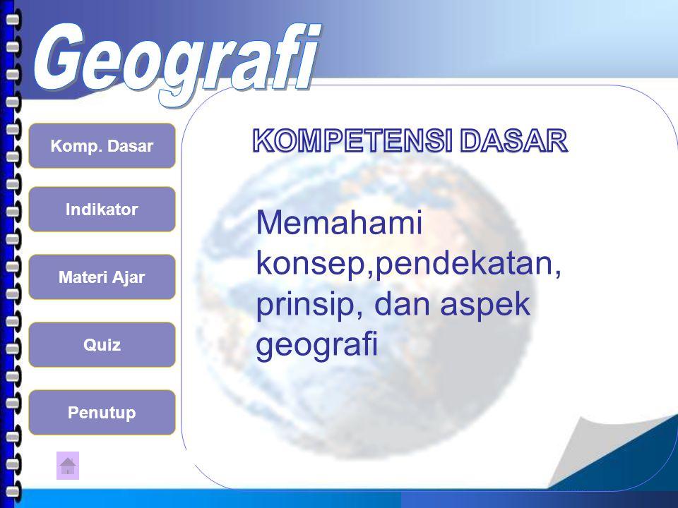 Memahami konsep,pendekatan, prinsip, dan aspek geografi