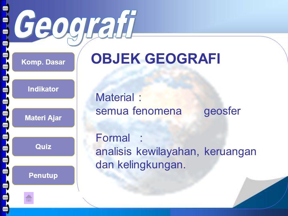 OBJEK GEOGRAFI Material : semua fenomena geosfer Formal :