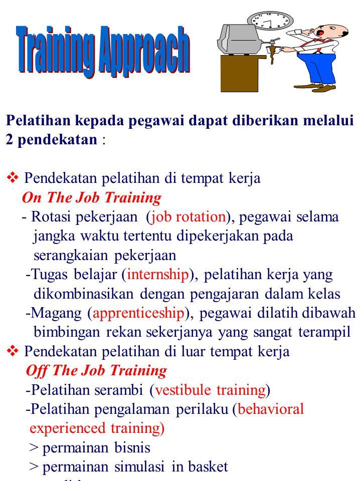 Training Approach Pelatihan kepada pegawai dapat diberikan melalui
