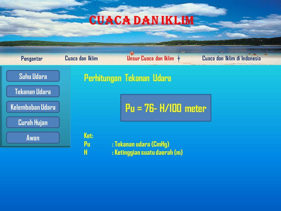 Pu = 76- H/100 meter Perhitungan Tekanan Udara Ket: