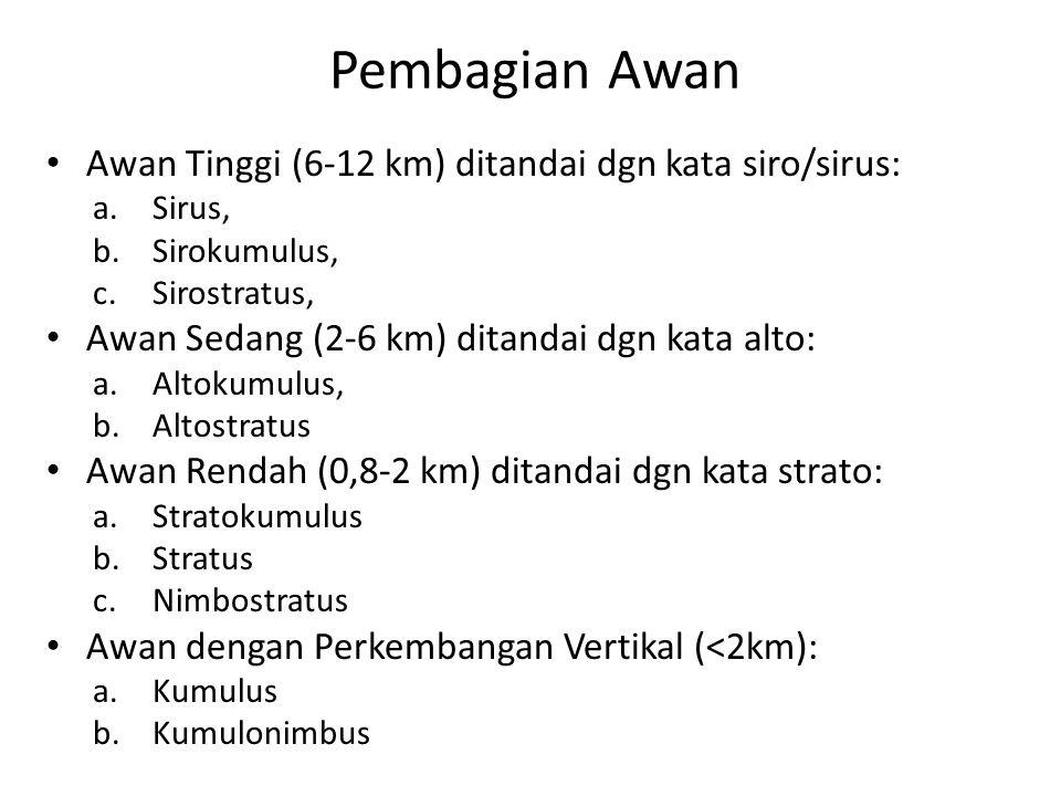 Pembagian Awan Awan Tinggi (6-12 km) ditandai dgn kata siro/sirus: