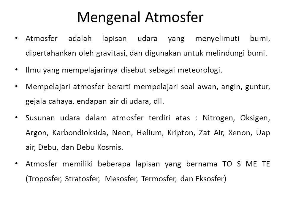 Mengenal Atmosfer Atmosfer adalah lapisan udara yang menyelimuti bumi, dipertahankan oleh gravitasi, dan digunakan untuk melindungi bumi.