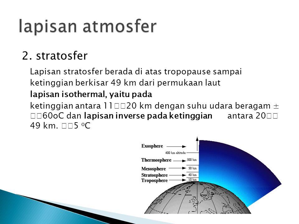 lapisan atmosfer 2. stratosfer