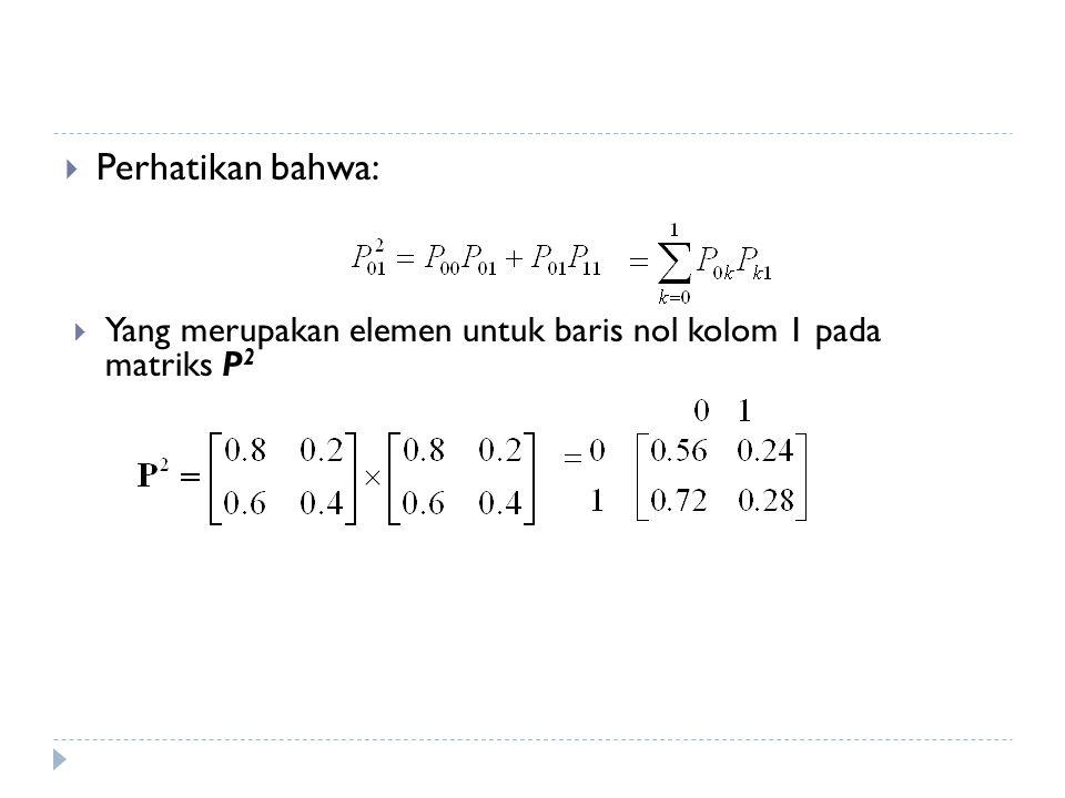 Perhatikan bahwa: Yang merupakan elemen untuk baris nol kolom 1 pada matriks P2