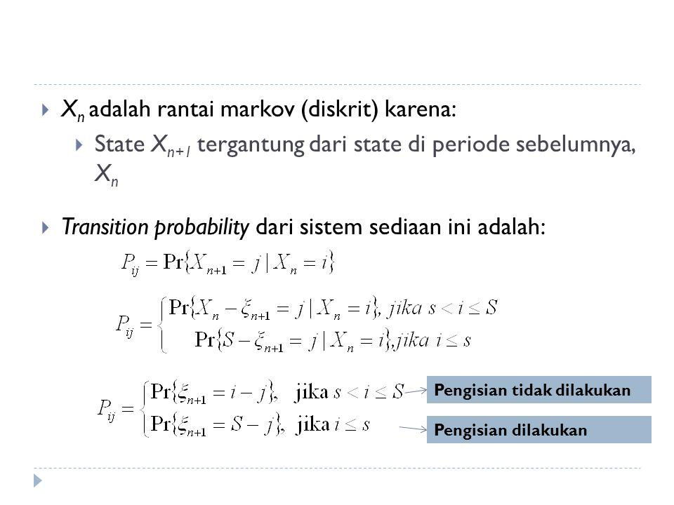 Xn adalah rantai markov (diskrit) karena: