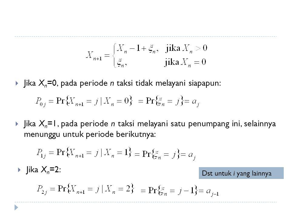 Jika Xn=0, pada periode n taksi tidak melayani siapapun: