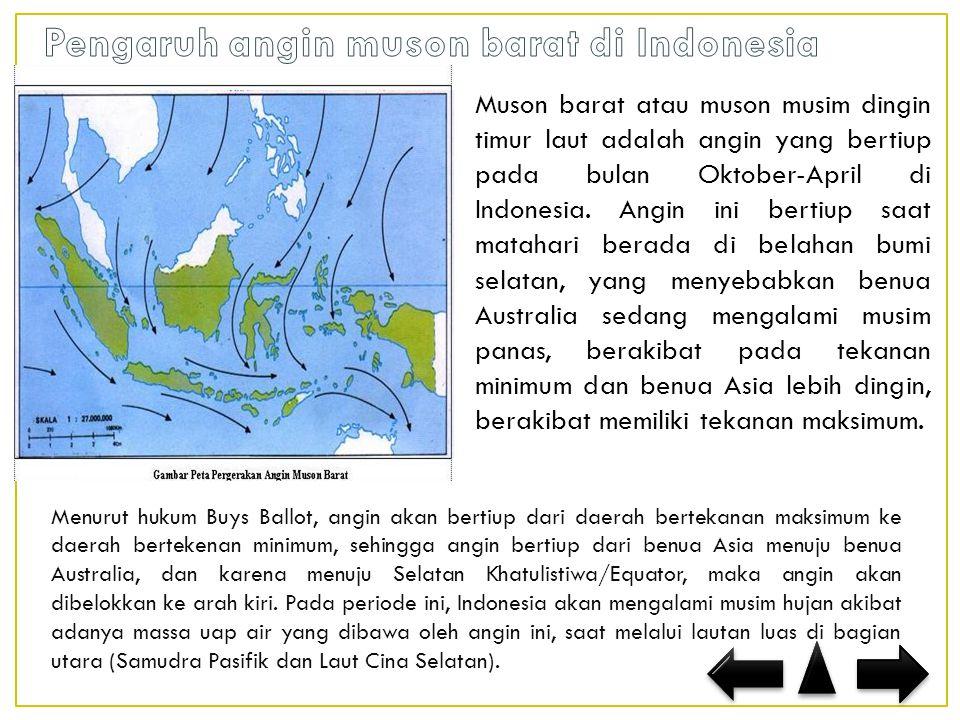 Pengaruh angin muson barat di Indonesia