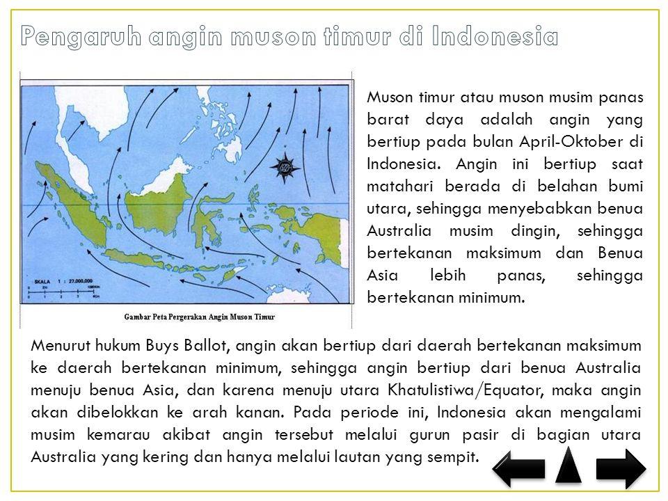 Pengaruh angin muson timur di Indonesia