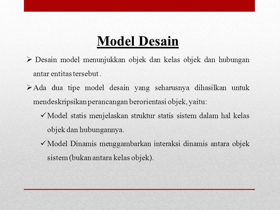 Model Desain Desain model menunjukkan objek dan kelas objek dan hubungan antar entitas tersebut .