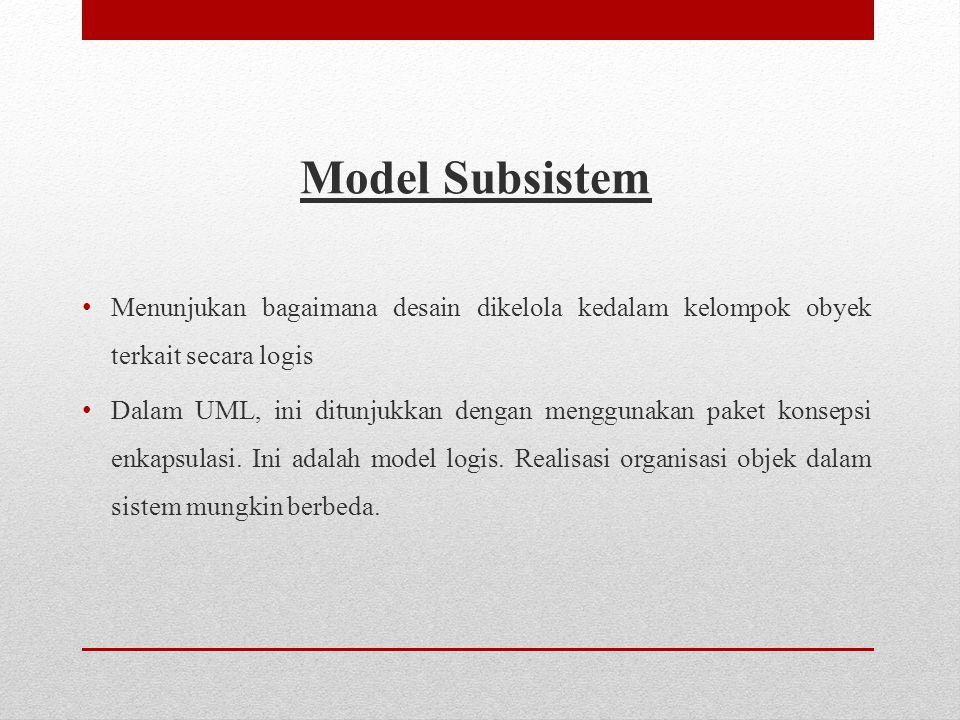 Model Subsistem Menunjukan bagaimana desain dikelola kedalam kelompok obyek terkait secara logis.