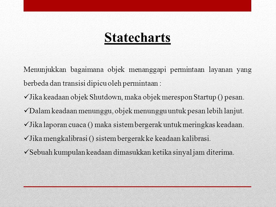 Statecharts. Menunjukkan bagaimana objek menanggapi permintaan layanan yang berbeda dan transisi dipicu oleh permintaan :