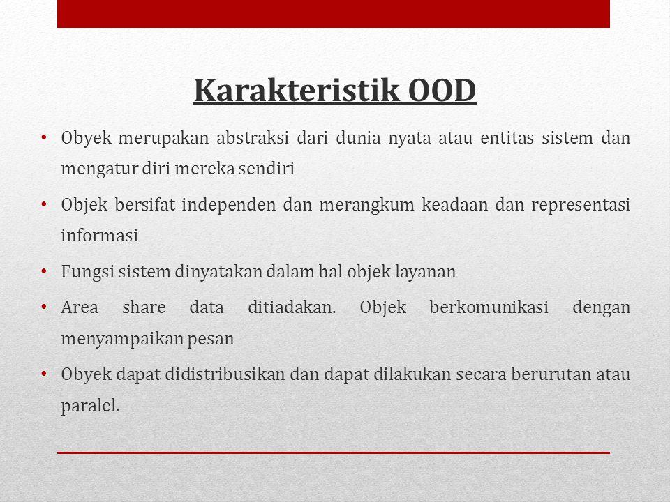 Karakteristik OOD Obyek merupakan abstraksi dari dunia nyata atau entitas sistem dan mengatur diri mereka sendiri.