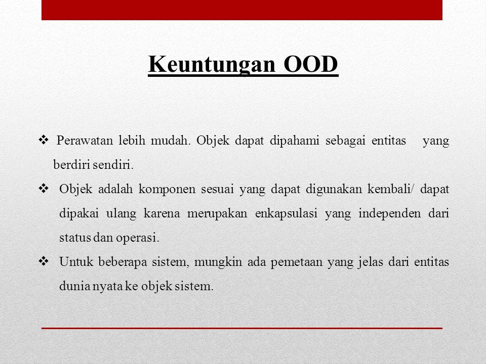 Keuntungan OOD Perawatan lebih mudah. Objek dapat dipahami sebagai entitas yang berdiri sendiri.