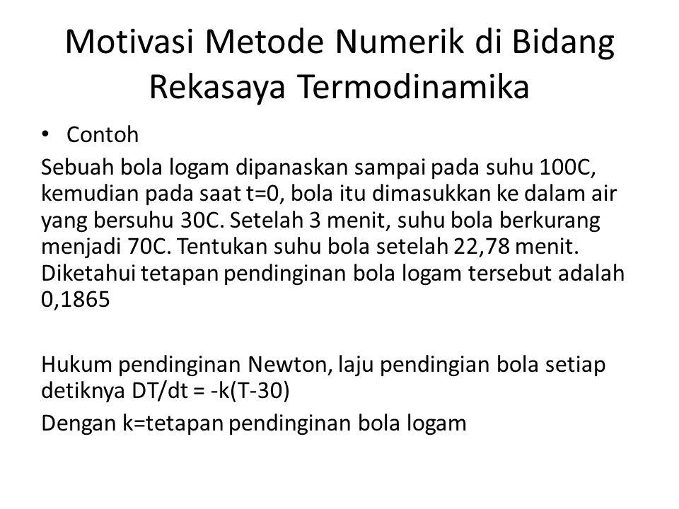 Motivasi Metode Numerik di Bidang Rekasaya Termodinamika