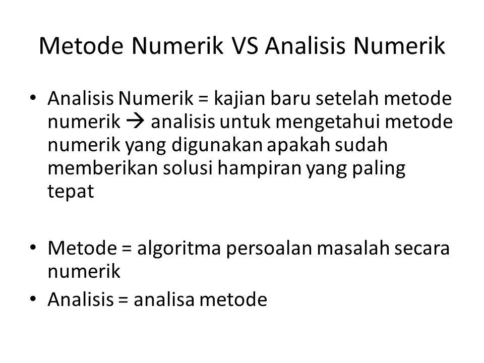 Metode Numerik VS Analisis Numerik