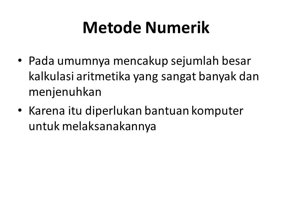 Metode Numerik Pada umumnya mencakup sejumlah besar kalkulasi aritmetika yang sangat banyak dan menjenuhkan.