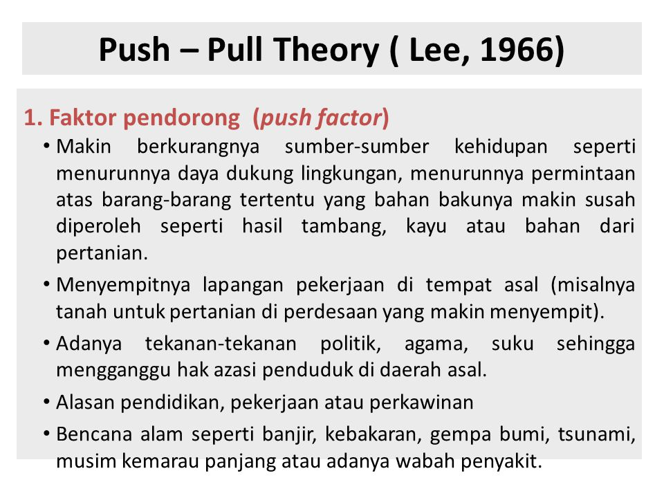 Push – Pull Theory ( Lee, 1966)