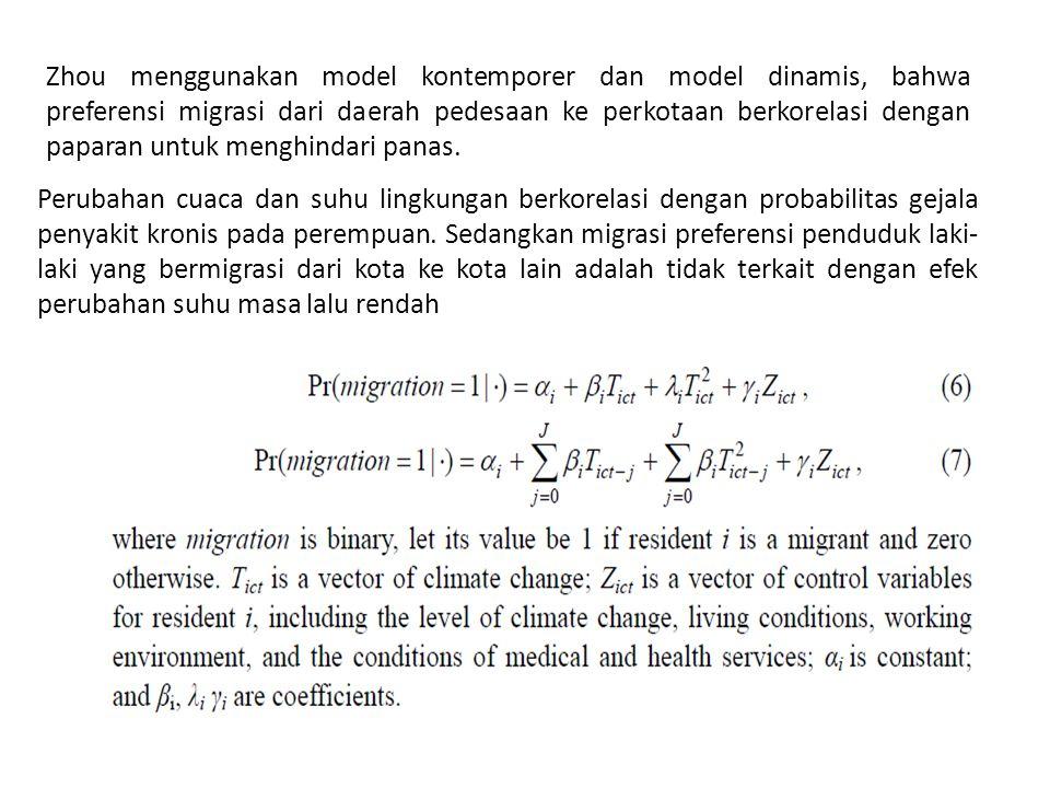 Zhou menggunakan model kontemporer dan model dinamis, bahwa preferensi migrasi dari daerah pedesaan ke perkotaan berkorelasi dengan paparan untuk menghindari panas.