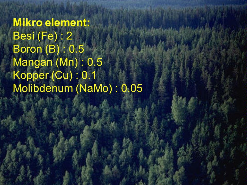 Mikro element: Besi (Fe) : 2 Boron (B) : 0. 5 Mangan (Mn) : 0
