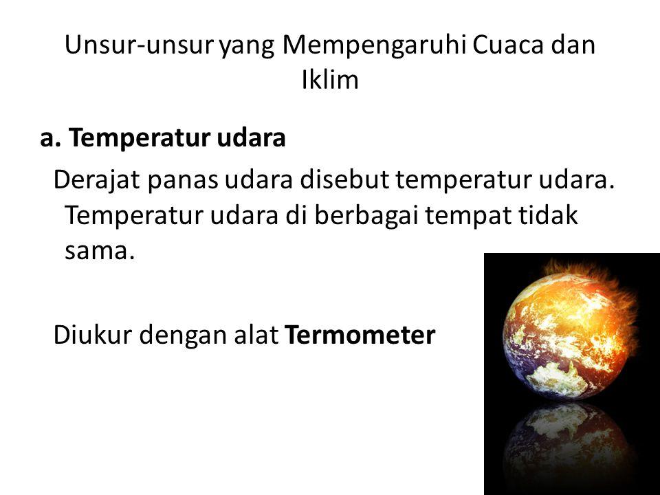 Unsur-unsur yang Mempengaruhi Cuaca dan Iklim