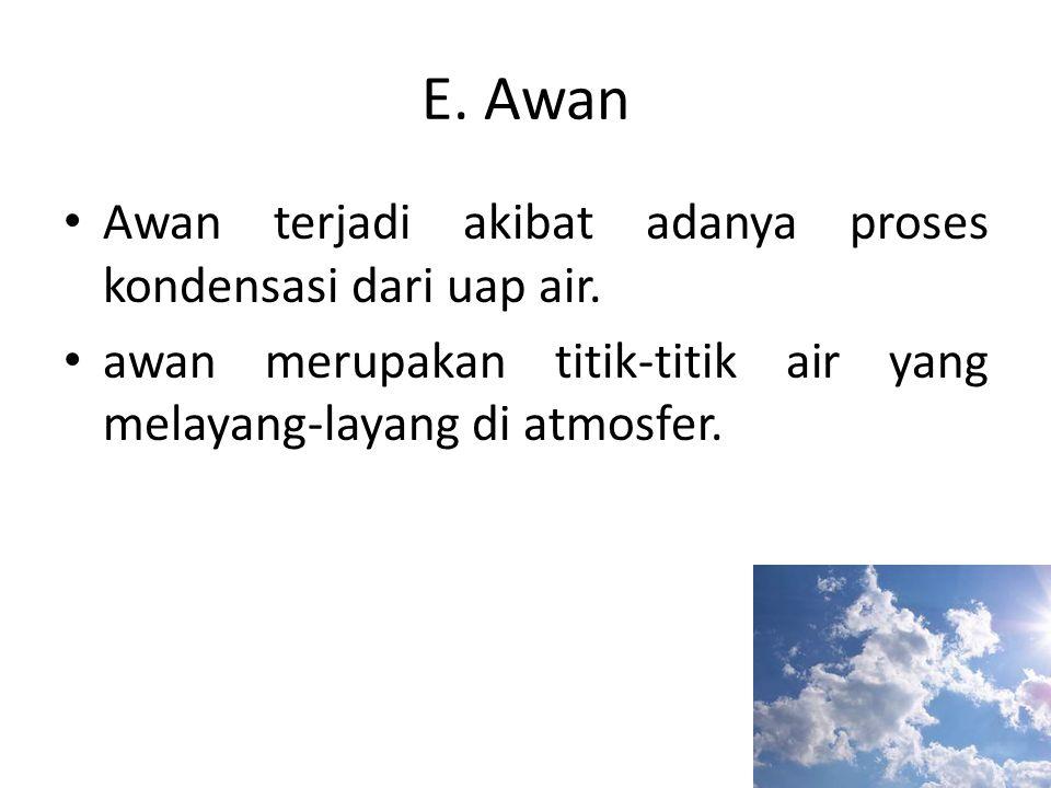 E. Awan Awan terjadi akibat adanya proses kondensasi dari uap air.