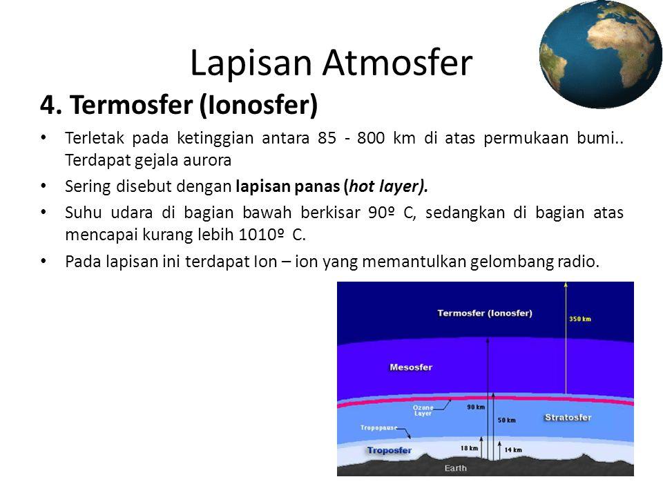 Lapisan Atmosfer 4. Termosfer (Ionosfer)