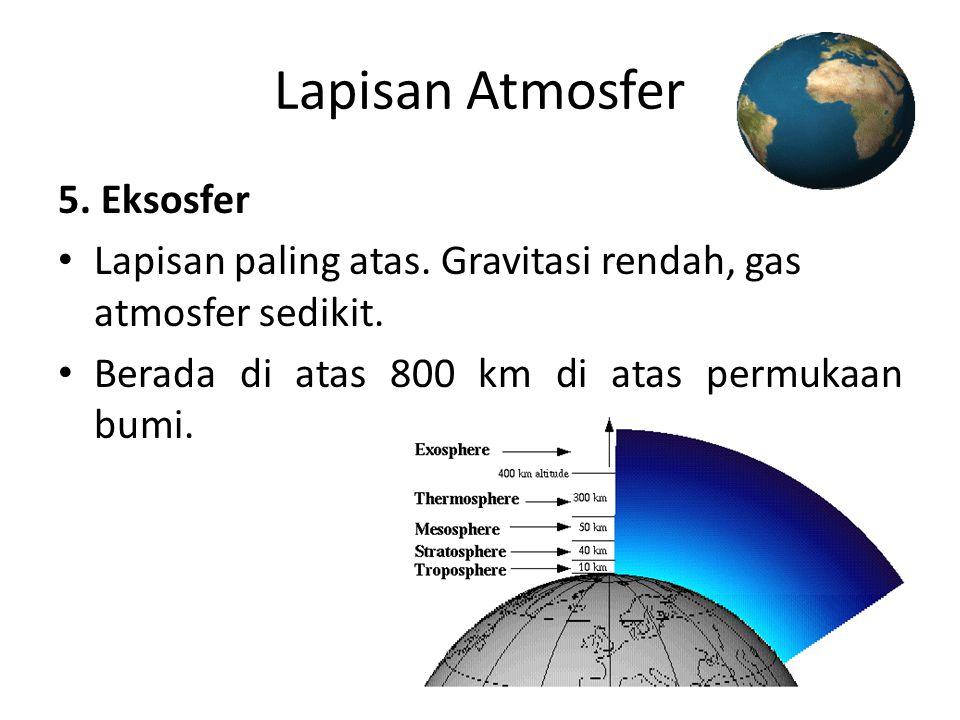 Lapisan Atmosfer 5. Eksosfer