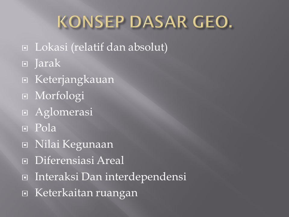 KONSEP DASAR GEO. Lokasi (relatif dan absolut) Jarak Keterjangkauan