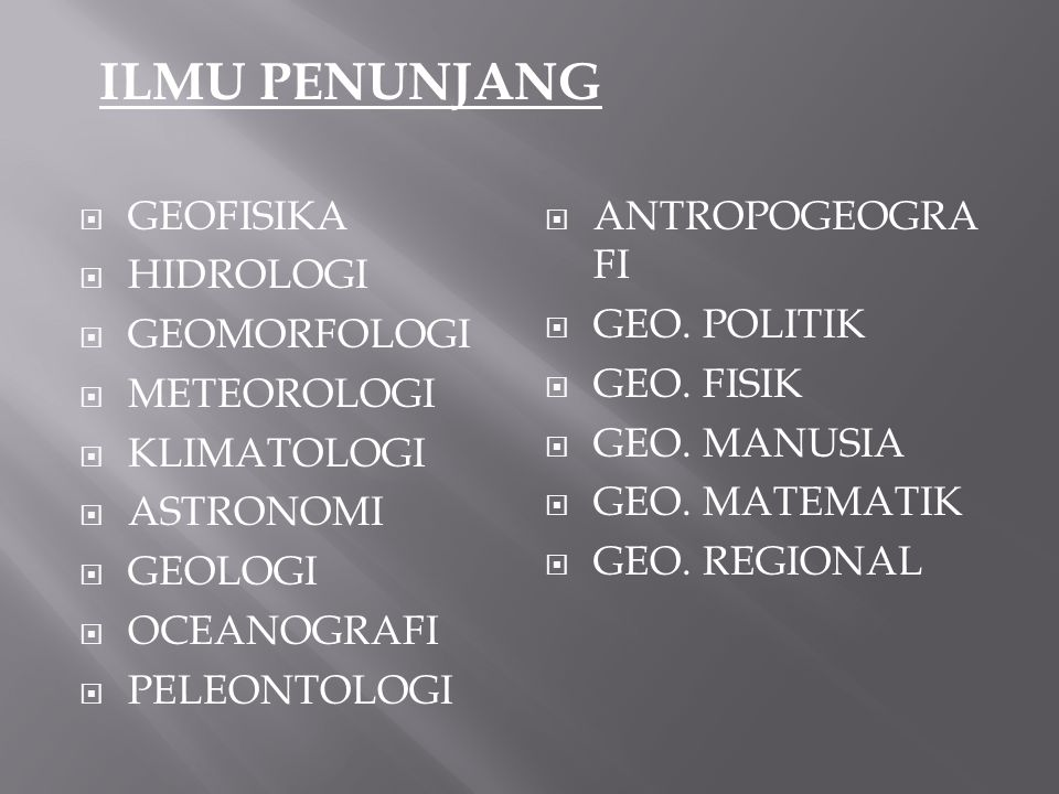 ILMU PENUNJANG GEOFISIKA ANTROPOGEOGRAFI HIDROLOGI GEO. POLITIK