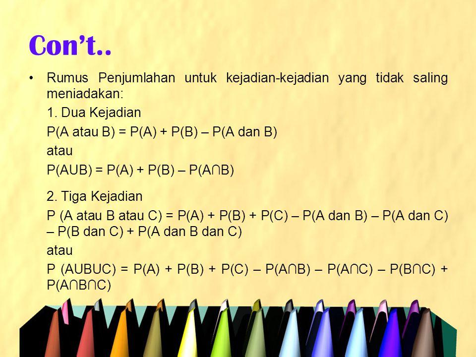 Con't.. Rumus Penjumlahan untuk kejadian-kejadian yang tidak saling meniadakan: 1. Dua Kejadian. P(A atau B) = P(A) + P(B) – P(A dan B)