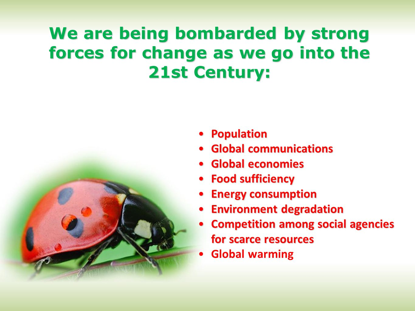 We are being bombarded by strong forces for change as we go into the 21st Century: