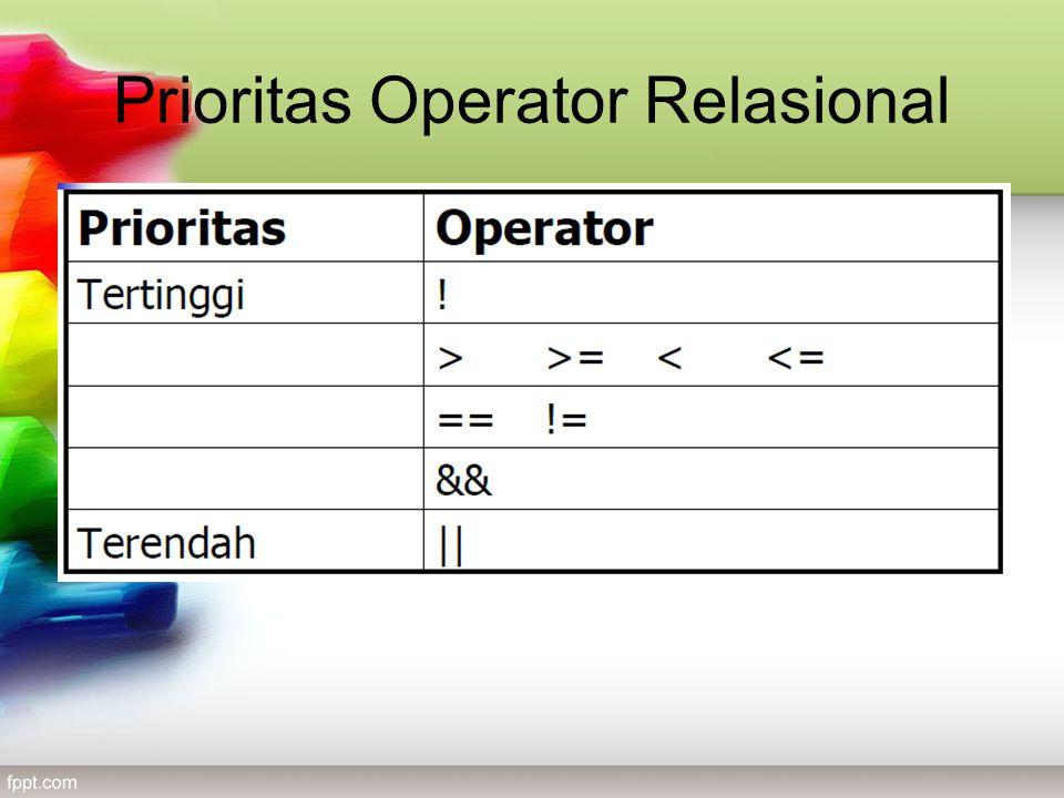 Prioritas Operator Relasional