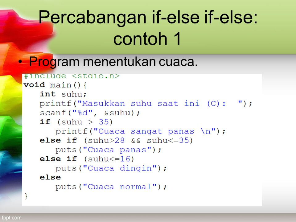 Percabangan if-else if-else: contoh 1