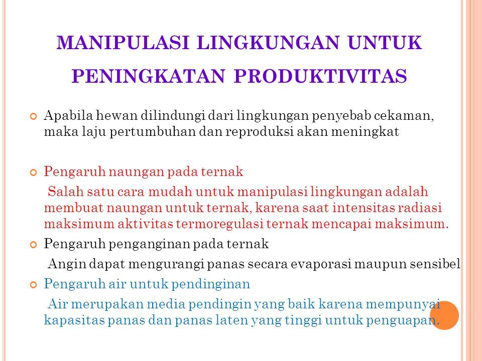MANIPULASI LINGKUNGAN UNTUK PENINGKATAN PRODUKTIVITAS