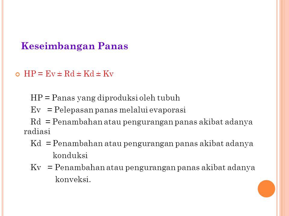 Keseimbangan Panas HP = Ev ± Rd ± Kd ± Kv