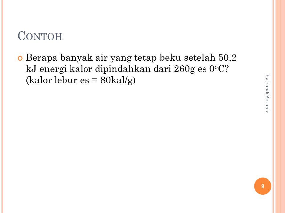 Contoh Berapa banyak air yang tetap beku setelah 50,2 kJ energi kalor dipindahkan dari 260g es 0oC (kalor lebur es = 80kal/g)