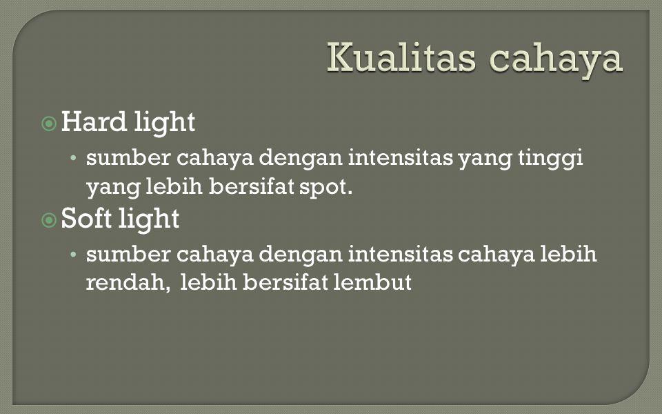 Kualitas cahaya Hard light Soft light