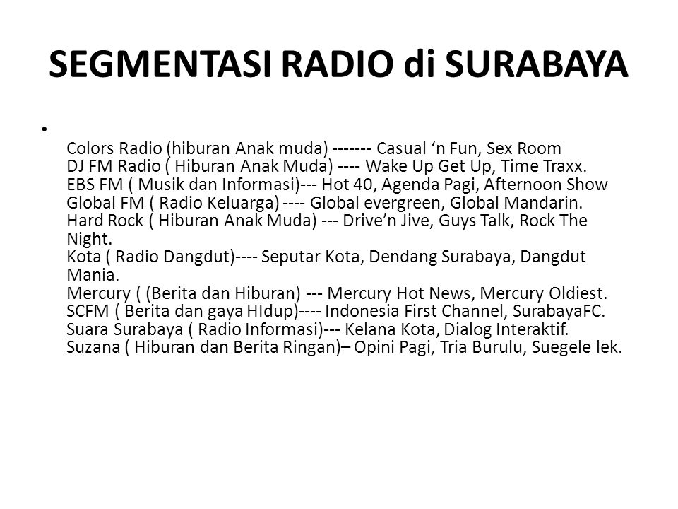 SEGMENTASI RADIO di SURABAYA