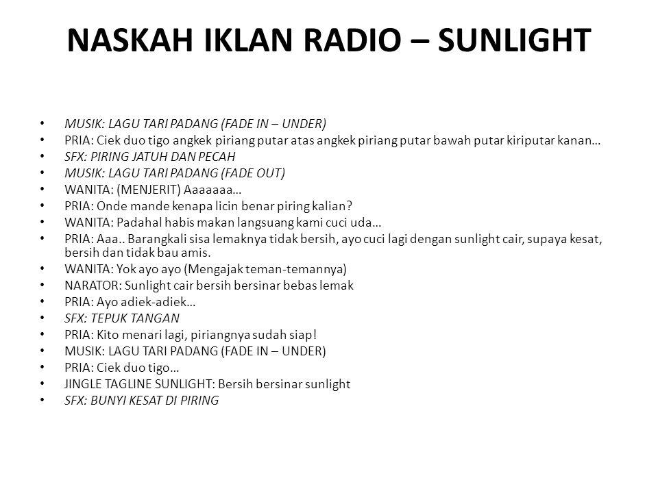 NASKAH IKLAN RADIO – SUNLIGHT