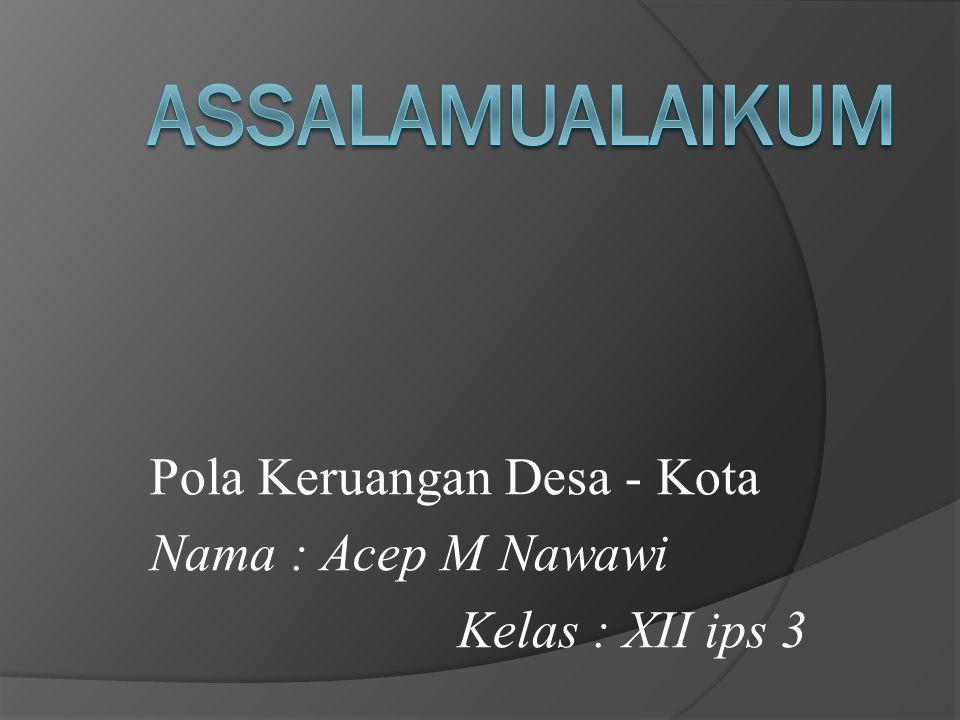 Pola Keruangan Desa - Kota Nama : Acep M Nawawi Kelas : XII ips 3