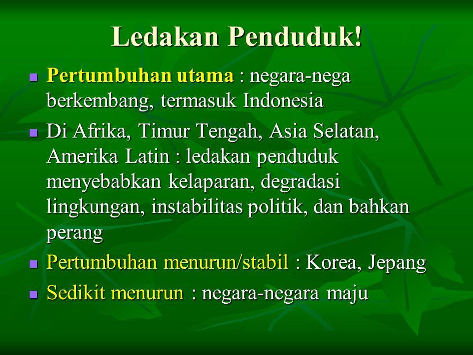 Ledakan Penduduk! Pertumbuhan utama : negara-nega berkembang, termasuk Indonesia.