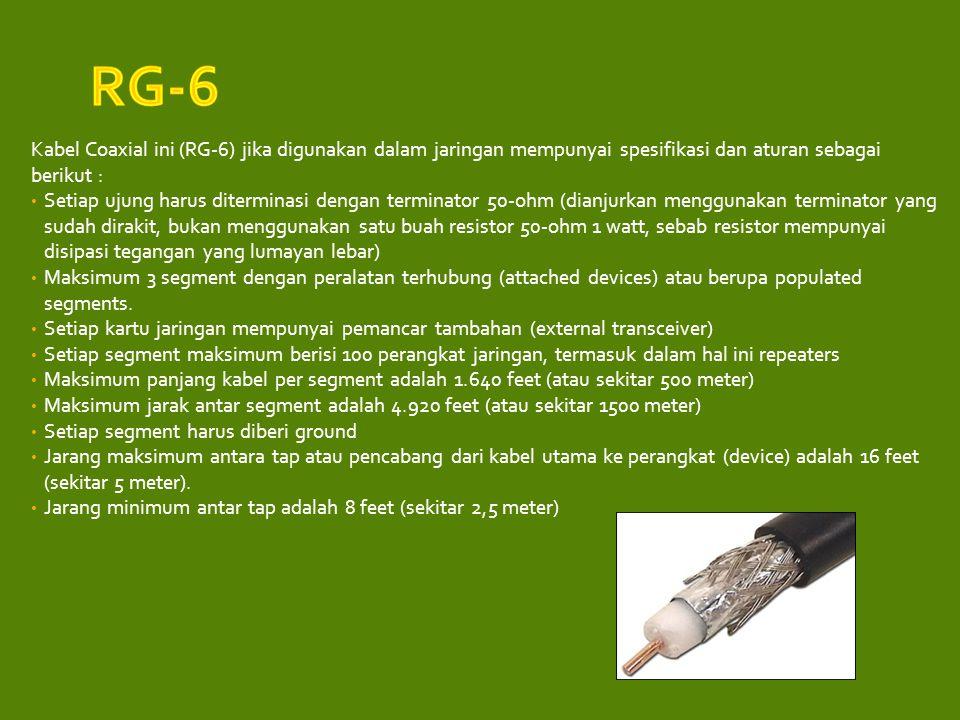 RG-6 Kabel Coaxial ini (RG-6) jika digunakan dalam jaringan mempunyai spesifikasi dan aturan sebagai berikut :