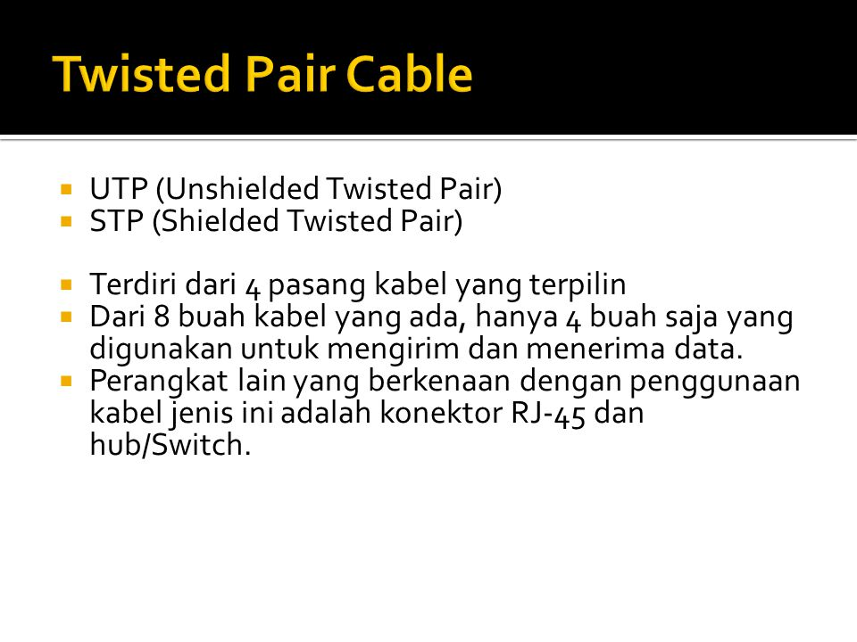 Twisted Pair Cable UTP (Unshielded Twisted Pair)