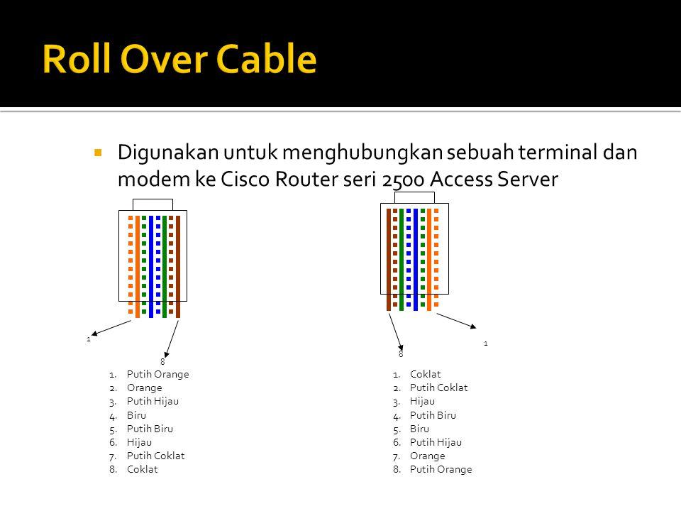 Roll Over Cable Digunakan untuk menghubungkan sebuah terminal dan modem ke Cisco Router seri 2500 Access Server.