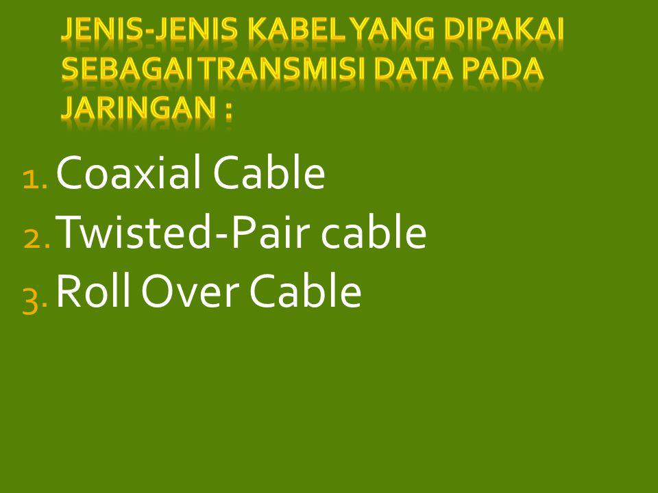 Jenis-jenis kabel yang dipakai sebagai transmisi data pada jaringan :