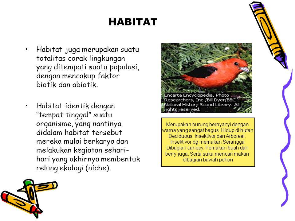 HABITAT Habitat juga merupakan suatu totalitas corak lingkungan yang ditempati suatu populasi, dengan mencakup faktor biotik dan abiotik.