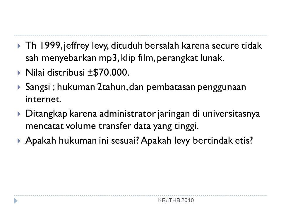 Sangsi ; hukuman 2tahun, dan pembatasan penggunaan internet.